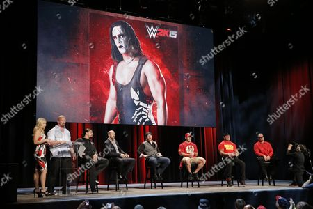 WWE broadcaster Renee Young, WWE Hall of Famer Stone Cold Steve Austin speaks with WWE Superstars Roman Reigns, Cesaro, Sheamus, WWE 2K15 cover Superstar John Cena as well as WWE Hall of Famer Hulk Hogan and iconic competitor Sting talk about WWE 2K15 at the SummerSlam Confidential Panel at Club Nokia, on in Los Angeles