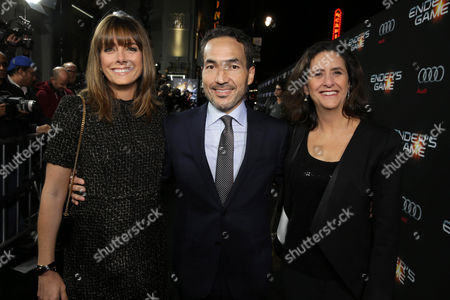 Producer Linda McDonough, Composer Steve Jablonsky and Producer Gigi Pritzker seen at Summit Entertainment's Los Angeles Premiere of 'Ender's Game', on Monday, Oct, 28, 2013 in Los Angeles