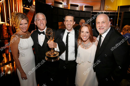 Tava Smiley, from left, Brian Katkin, Maureen Timpa, Adam Lewinson, and Chuck Saftler poses backstage at the Television Academy's Creative Arts Emmy Awards at Microsoft Theater, in Los Angeles