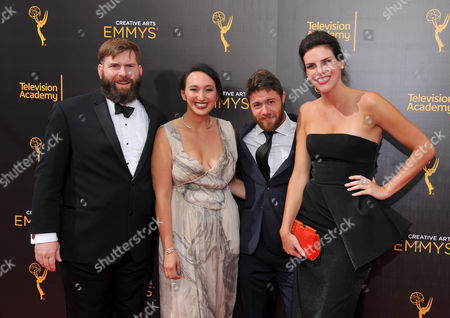 Matt Parker, from left, Carly Hugo, Jacob Bernstein, and Annabelle Dunn arrive at night two of the Television Academy's 2016 Creative Arts Emmy Awards at the Microsoft Theater on in Los Angeles