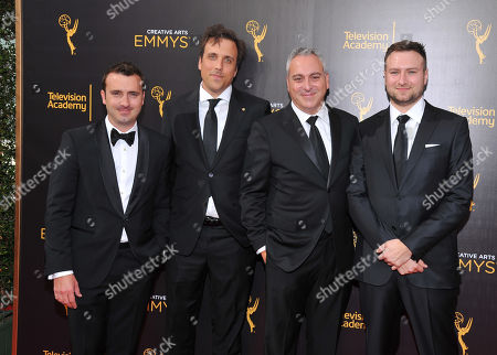 Dane Lillegard, Brian McGinn, Andrew Fried, and David Gelb arrive at night two of the Television Academy's 2016 Creative Arts Emmy Awards at the Microsoft Theater on in Los Angeles