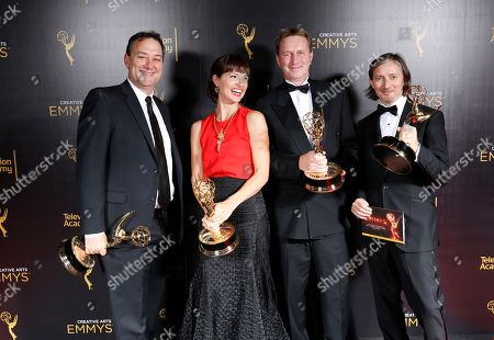 Mathew Waters, from left, Onnalee Blank, Richard Dyer, and Ronan Hill winners of the award for outstanding sound mixing for a comedy or drama series (one-hour) for Game of Thrones pose for a portrait during night one of the Television Academy's 2016 Creative Arts Emmy Awards at the Microsoft Theater on in Los Angeles
