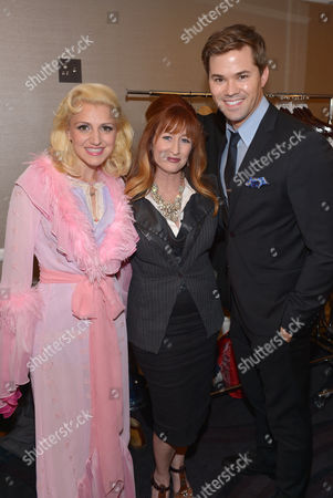 "Annaleigh Ashford, and from left, Vicki Lewis and Andrew Rannells backstage at the 22nd annual ""A Night At Sardi's"" to benefit the Alzheimer's Association at the Beverly Hilton Hotel, in Beverly Hills, Calif"