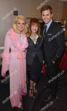 "Annaleigh Ashford and from left, Vicki Lewis and Andrew Rannels pose backstage at the 22nd annual ""A Night At Sardi's"" to benefit the Alzheimer's Association at the Beverly Hilton Hotel, in Beverly Hills, Calif"