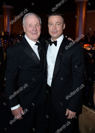 Jerry Weintraub and Brad Pitt inside at the 25th annual Producers Guild of America (PGA) Awards at the Beverly Hilton Hotel, in Beverly Hills, Calif