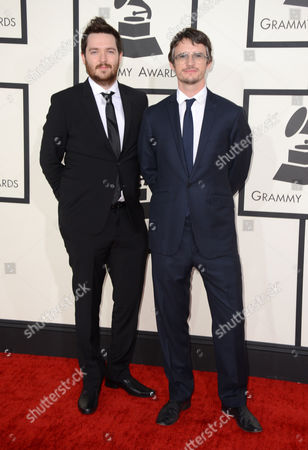 James Musgrave, left, and Simon Earith arrive at the 56th annual GRAMMY Awards at Staples Center, in Los Angeles