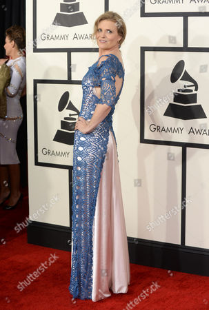 Tierney Sutton arrives at the 56th annual GRAMMY Awards at Staples Center, in Los Angeles