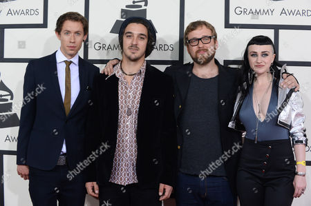 From left, Simon Mavin, Perrin Moss, Paul Bender, and Nai Palm of Hiatus Kaiyote arrive at the 56th annual GRAMMY Awards at Staples Center, in Los Angeles