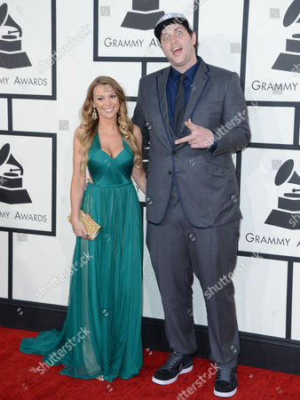 Stock Image of Derek Vincent Smith of Pretty Lights, right, arrives at the 56th annual GRAMMY Awards at Staples Center, in Los Angeles
