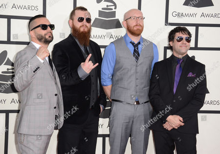 From left, Mike D'Antonio, Justin Foley, Joel Stroetzel and Jesse Leach of Killswitch Engage arrive at the 56th annual GRAMMY Awards at Staples Center, in Los Angeles