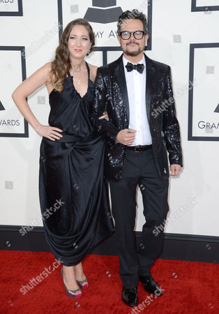 Aleks Syntek, right, and guest arrive at the 56th annual GRAMMY Awards at Staples Center, in Los Angeles