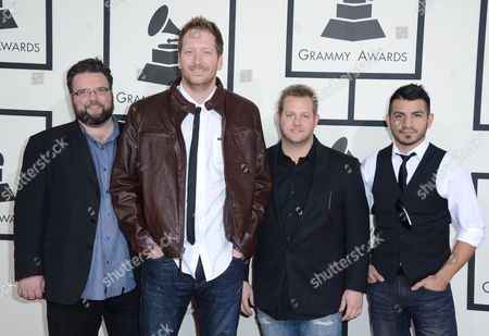 Barrett Baber, second from left, and bandmates arrive at the 56th annual GRAMMY Awards at Staples Center, in Los Angeles