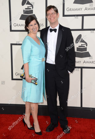 Donny McCaslin, right, and Sarah McCaslin arrive at the 56th annual GRAMMY Awards at Staples Center, in Los Angeles