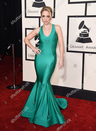 Cara Quici arrives at the 57th annual Grammy Awards at the Staples Center, in Los Angeles