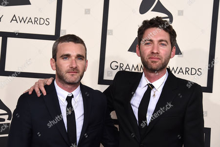 Stock Picture of Lorin Askill, left, and Daniel Askill arrive at the 57th annual Grammy Awards at the Staples Center, in Los Angeles