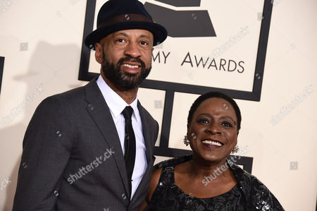 Franklin Stribling, left, and Sharon Jones arrive at the 57th annual Grammy Awards at the Staples Center, in Los Angeles