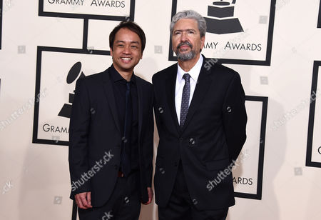 Stock Photo of Daniel Ho, left, and Luis Conte arrive at the 57th annual Grammy Awards at the Staples Center, in Los Angeles