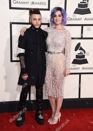 Stock Image of Ferras, left, and Katy Perry arrive at the 57th annual Grammy Awards at the Staples Center, in Los Angeles