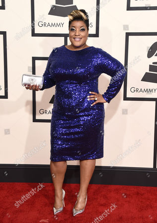 Anita Wilson arrives at the 57th annual Grammy Awards at the Staples Center, in Los Angeles