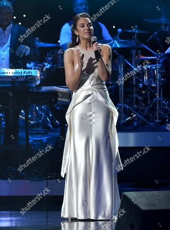 Alexandra Silber performs at the 57th annual Grammy Awards, in Los Angeles