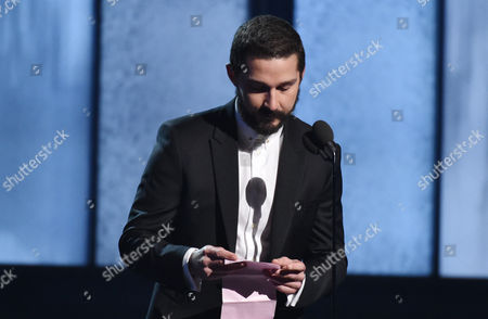 Shia LeBeouf introduces a performance by Sia at the 57th annual Grammy Awards, in Los Angeles