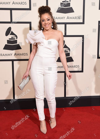Kendra Foster arrives at the 58th annual Grammy Awards at the Staples Center, in Los Angeles