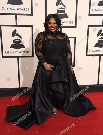 Tasha Cobbs arrives at the 58th annual Grammy Awards at the Staples Center, in Los Angeles