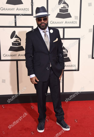 J. Moss arrives at the 58th annual Grammy Awards at the Staples Center, in Los Angeles