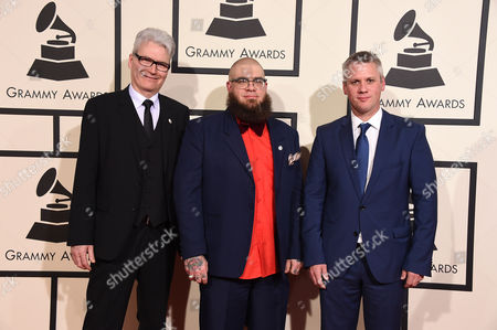 Stock Photo of Marshall Gilkes, right, and WDR Big Bang arrive at the 58th annual Grammy Awards at the Staples Center, in Los Angeles