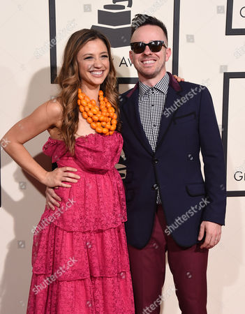 Laura Miller and Ricky Reed arrive at the 58th annual Grammy Awards at the Staples Center, in Los Angeles