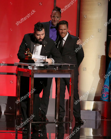 Stock Picture of Dave Aude accepts the award for remixed recording, non-classical at the 58th annual Grammy Awards, in Los Angeles