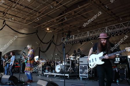 Hannah Hooper, Christian Zucconi and Sean Gadd of Grouplove performs during The Big Ticket at Jacksonville Metro Park, in Jacksonville, Fla