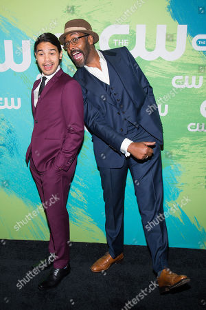 Carlos Valdes, left, and Jesse L. Martin attend the The CW Network's 2016 Upfront Presentation, in New York