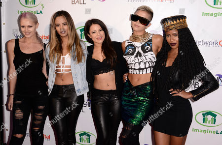 Lauren Bennett, and from left, Emmalyn Estrada, Natasha Slayton, Paula Van Oppen and Simone Battle, of the musical group G.R.L., arrive at THE IMAGINE BALL LA Benefit Concert at the House of Blues, in West Hollywood, Calif