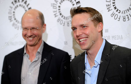 "Stock Picture of Kevin Biegel, right, creator and executive producer of the television series ""Enlisted,"" and executive producer Mike Royce pose together at the premiere screening of the show, at The Paley Center for Media in Beverly Hills, Calif"