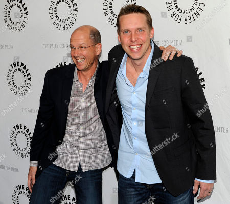 "Mike Royce, left, and Kevin Biegel, executive producers of the new television series ""Enlisted,"" pose together at the premiere screening of the show, at The Paley Center for Media in Beverly Hills, Calif"