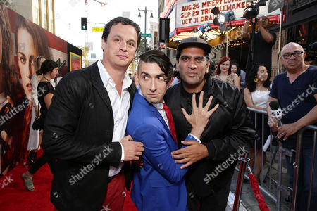 Producer David Alpert, Screenwriter Max Landis and Director Nima Nourizadeh seen at The World Premiere of Lionsgate's 'American Ultra' at Ace Hotel, in Los Angeles, CA