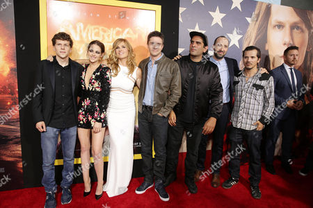Jesse Eisenberg, Kristen Stewart, Connie Britton, Topher Grace, Director Nima Nourizadeh, Tony Hale and John Leguizamo seen at The World Premiere of Lionsgate's 'American Ultra' at Ace Hotel, in Los Angeles, CA