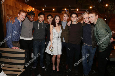 Chris Sheffield, Dexter Darden, Ki Hong Lee, Alexander Flores, Kaya Scodelario, Thomas Brodie-Sangster, Dylan O'Brien, Joe Adler and Will Poulter seen at the TIFFANY & CO. Los Angeles red carpet event for Tribeca Film and Well Go USA's release of THE TRUTH ABOUT EMANUEL, on in Los Angeles