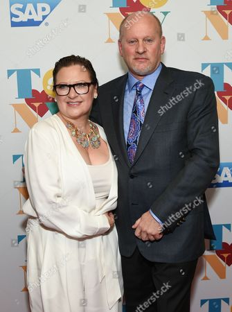 Caroline Manzo and brother Jaime Laurita attend Tony Bennett's 90th birthday celebration at the Rainbow Room at Rockefeller Plaza, in New York