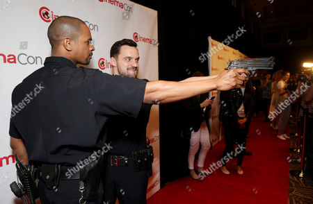 Damon Wayans, Jr. and Jake M. Johnson seen at Twentieth Century Fox 2014 Cinemacon presentation,, in Las Vegas