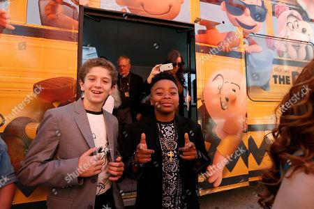 Stock Photo of A.J. Tecce and Marleik Mar Mar Walker seen at Twentieth Century Fox Premiere of 'The Peanuts Movie' at Regency Village Theater, in Los Angeles, CA