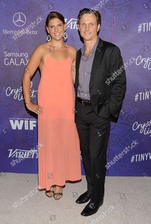 Tony Goldwyn and daughter Anna Musky-Goldwyn arrive at Variety and Women in Film's pre-Emmy celebration at Gracias Madre on in West Hollywood, Calif