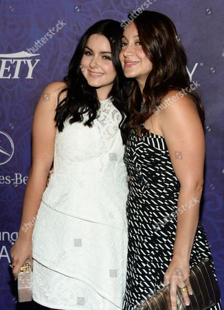 Stock Image of Ariel Winter, left, and sister Shanelle Workman arrive at Variety and Women in Film's pre-Emmy celebration at Gracias Madre on in West Hollywood, Calif