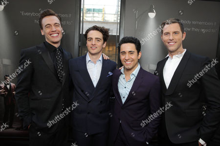 Erich Bergen, Vincent Piazza, John Lloyd Young and Michael Lomenda seen at the Warner Bros. Premiere of 'Jersey Boys' at the 2014 Los Angeles Film Festival held at Regal Cinemas LA Live Stadium 14, in Los Angeles