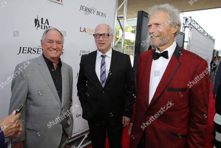 Neil Sedaka, Donnie Kehr and Director/Producer Clint Eastwood seen at the Warner Bros. Premiere of 'Jersey Boys' at the 2014 Los Angeles Film Festival held at Regal Cinemas LA Live Stadium 14, in Los Angeles