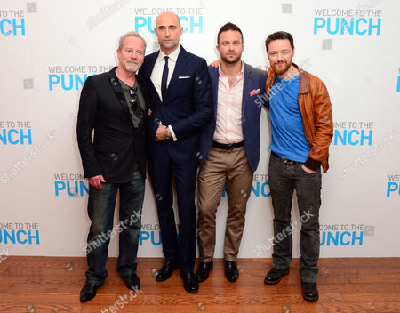 Peter Mullan, Mark Strong, Eran Creevy and James McAvoy are seen at Welcome to the punch Premier, on Tuesday, March, 5th, 2013 in London