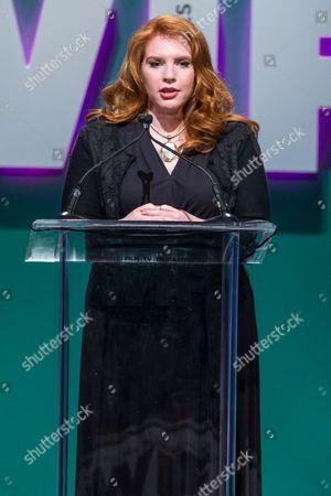 Writer Stephenie Meyer speaks at the Women in Film 2015 Crystal + Lucy Awards at the Hyatt Regency Century Plaza on in Los Angeles