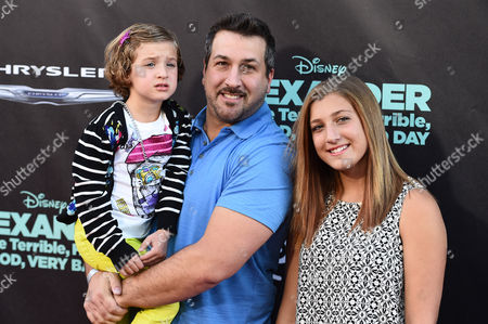 """Joey Fatone, Briahna Joely Fatone and Kloey Alexandra Fatone arrive at the world premiere of """"Alexander And The Terrible, Horrible, No Good, Very Bad Day"""" at the El Capitan Theatre, in Los Angeles"""