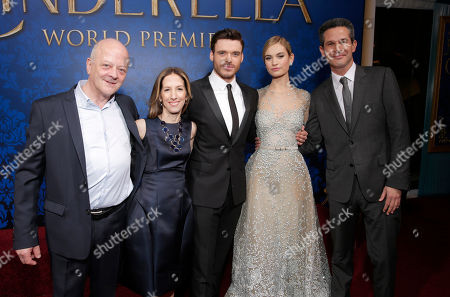 """Producers David Barron, Allison Shearmur, actors Richard Madden, Lily James and producer Simon Kinberg attends the World Premiere Of """"Cinderella"""", in Los Angeles"""